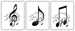 "HLNIUC Minimalist Music Notes Wall Art Poster Print Set of 3 (10""X8""Black and White Passion Note Art Canvas Painting Pictures for Classroom Home Decor,No Frame"