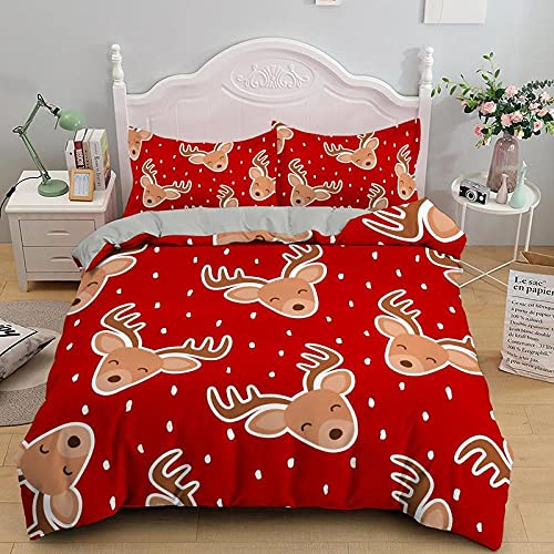 Juego de Funda nórdica Impresa en 3D Ciervo Animal Rojo marrón Claro con Cierre de Cremallera Juego de 3 Piezas de Ropa de Cama con 2 Fundas de Almohada260x220cm
