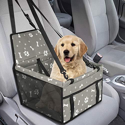 GeeRic Asiento de Coche para Mascotas de Seguridad Impermeable Transpirable extraíble para Proteger la Seguridad de Las Mascotas,Huesos Grises