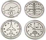 GODINGER SILVER ART Airplane Coasters, Set of 4 by Godinger