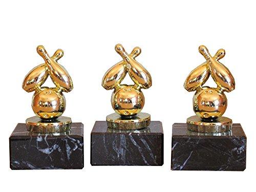 RaRu 3er-Serie Bowling-Pokale (G) auf Marmorsockel mit Wunschgravur