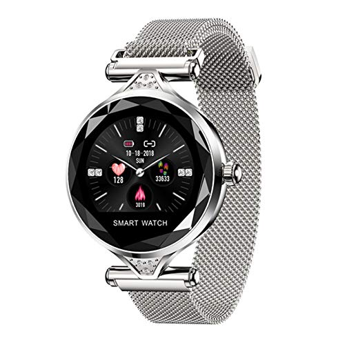 ZBY Smart Watch Ladies Impermeable Fitness Tracker Pulsera Inteligente Monitoreo de Ritmo cardíaco Deportes Bluetooth Ladies Watch,C