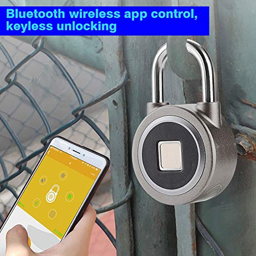 Denash Keyless Smart Code, IP65 Waterfroof Fingerprint Bluetooth APP Control Anti-Theft Padlock for Door Backpack Suitcas Cabinet Office Support 15 Groups of Fingerprints