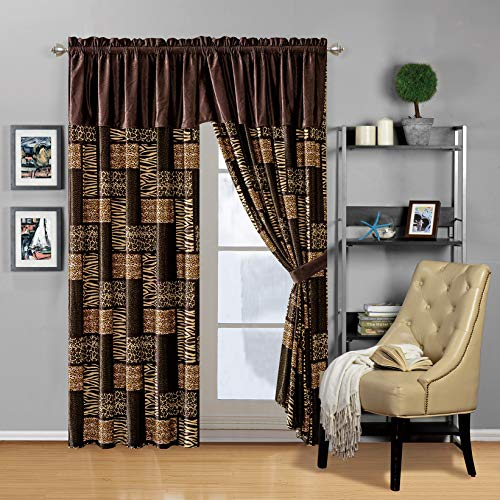 Modern 4 - Piece Dark Brown Black Animal Print Safari Curtain Set, Leopard, Zebra, Cheetah Velvet Drapes/Window Panels 116