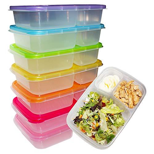 Kurtzy Fiambreras Bento (Pack 7) - 3 Compartimentos Contenedores Preparar Alimentos con Tapa - Plástico Control de Porciones para Alimentos - Aptos para Lavavajillas, Congelador y Microondas