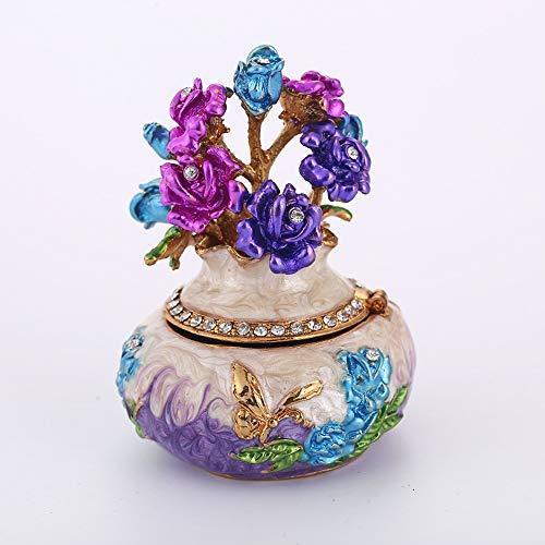 Gal Mädel Vase Styling Schmuckschatulle Mit Strass Home Wohnzimmer Büro Aufbewahrungsbox Dekoration Hochwertige Emaille Lackiert Metall Handwerk Geschenk (Farbe : Purple)