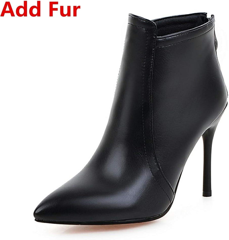 HOESCZS 2018 Beste Qualität Große Größen 33-43 Winter Stiefeletten Frauen Schuhe Frau Dünne High Heels Frau Schuhe Party Stiefelies,  | Billig ideal