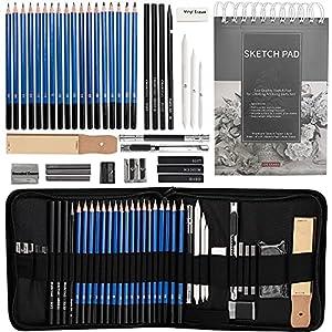 Juego de 40 lápices de dibujo y bosquejo, incluye 18 lápices de grafito, lápices de grafito y carbón, 100 páginas y…