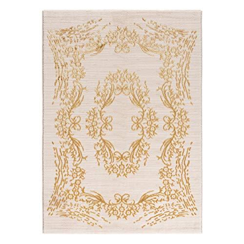 mynes Home Alfombra moderna de pelo corto, color beige y dorado con flores, estilo oriental, 705 (160 x 230 cm)