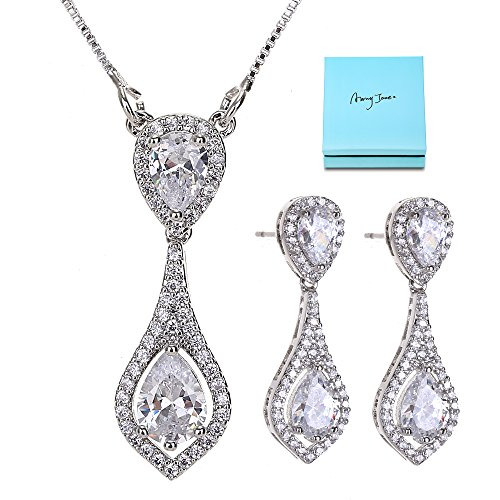 AMYJANE Wedding Jewelry Set for Bride - Elegant Sterling Silver Bridal Elegant White Crystal Cubic Zirconia Teardrop Pendant Necklace Earrings Set for Teen Girls Bridesmaids Wedding …