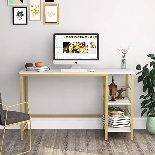 Tribesigns Schreibtisch 120×60cm moderner Computertisch,PC Tisch Arbeitstisch aus Holz, mit 2 Ablagen, weiß und Gold Metallgestell