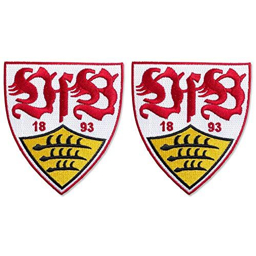 VfB Stuttgart Patch 2er Set - Wappen 4.5 x 5 cm - Aufnäher, Aufbügler - Plus Lesezeichen Wir lieben Fußball