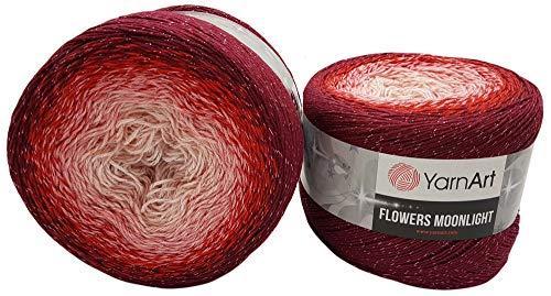 YarnArt Flowers 500 Gramm Bobbel Wolle mit Glitzer und Farbverlauf, 53% Baumwolle, Bobble Strickwolle Mehrfarbig (rot rosa weiß 3269)