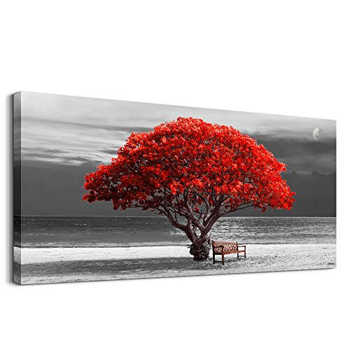 wall art for living room Decorations Photo Prints - panoramic black and white with red trees The moon Landscape - Modern Home Decor The room Stretched and Framed Ready to Hang artwork 20x40inches