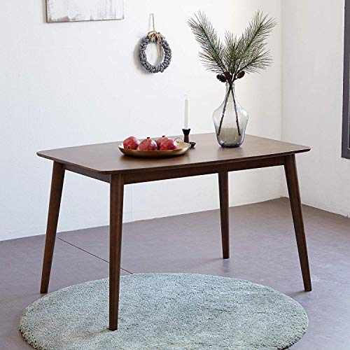 Livinia Aslan Dining Table, Mid Century Solid Hardwood Dining Desk, Rectangle Leisure Table for 6-Person, Kitchen Wooden Desk for Home Living Room Apartment (Walnut)