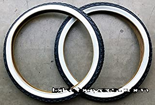 1 PAIR of Duro Diamond Tread Tire White Wall 24