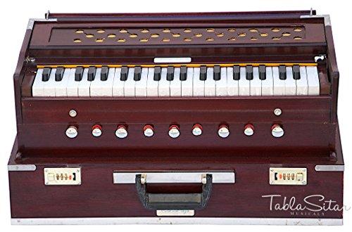 Maharaja Harmonium aus Palisanderholz, zusammenklappbar, 9 Stopfen, Safri, 3,5 Oktave, mit Koppler, mit Buch und Tasche, gestimmt auf A440 (PDI-AHF)