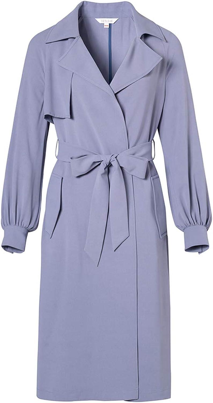 Women's Windbreaker Jacket, Spring Lantern Sleeves Lapel Long Over The Knee Long Sleeve Loose Jacket Belt Removable top