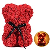 Rose Teddy Bear with Led Light for Girlfriend Women Wife Aniversity Decorations Birthdays Bridal Shower (Red)