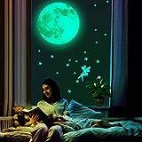 Adhesivo luminoso para pared, 30 cm, diseño de luna y estrellas en oscuridad, adhesivo luminoso para dormitorio, habitación de niños, hogar, pegatinas fluorescentes para pared