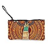 Mujer con vestido étnico en adornos tribales Lindo monedero de lona con de moda con cremallera Bolsa de maquillaje con correa para la muñeca Bolsa de teléfono en efectivo 8.5 x 4.5 pulgadas
