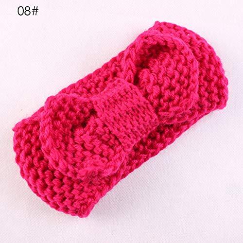 Bowknot Baby Baby Meisjes Gebreide Haarband Peuter Gehaakte Hoofddeksels Haaraccessoires (Kleur: Donker Rose Rood)