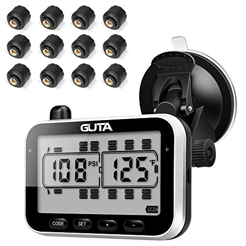 GUTA Tire Pressure Monitoring System - 12 Sensors, 7 Alarm Modes, Large Screen, Endurance Battery Life, Long Sensing Distance, More Convenient Sensor Pairing Method (0-188psi) (-4~185℉)