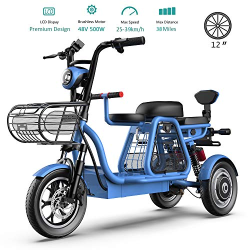 3 Wheel Electric Bikes for Adult 500W Mountain Electric Scooter 48V 12'' Electric Bicycle with Electric Lock Fast Battery Charger for Home Shopping Use,Blue,20Ah
