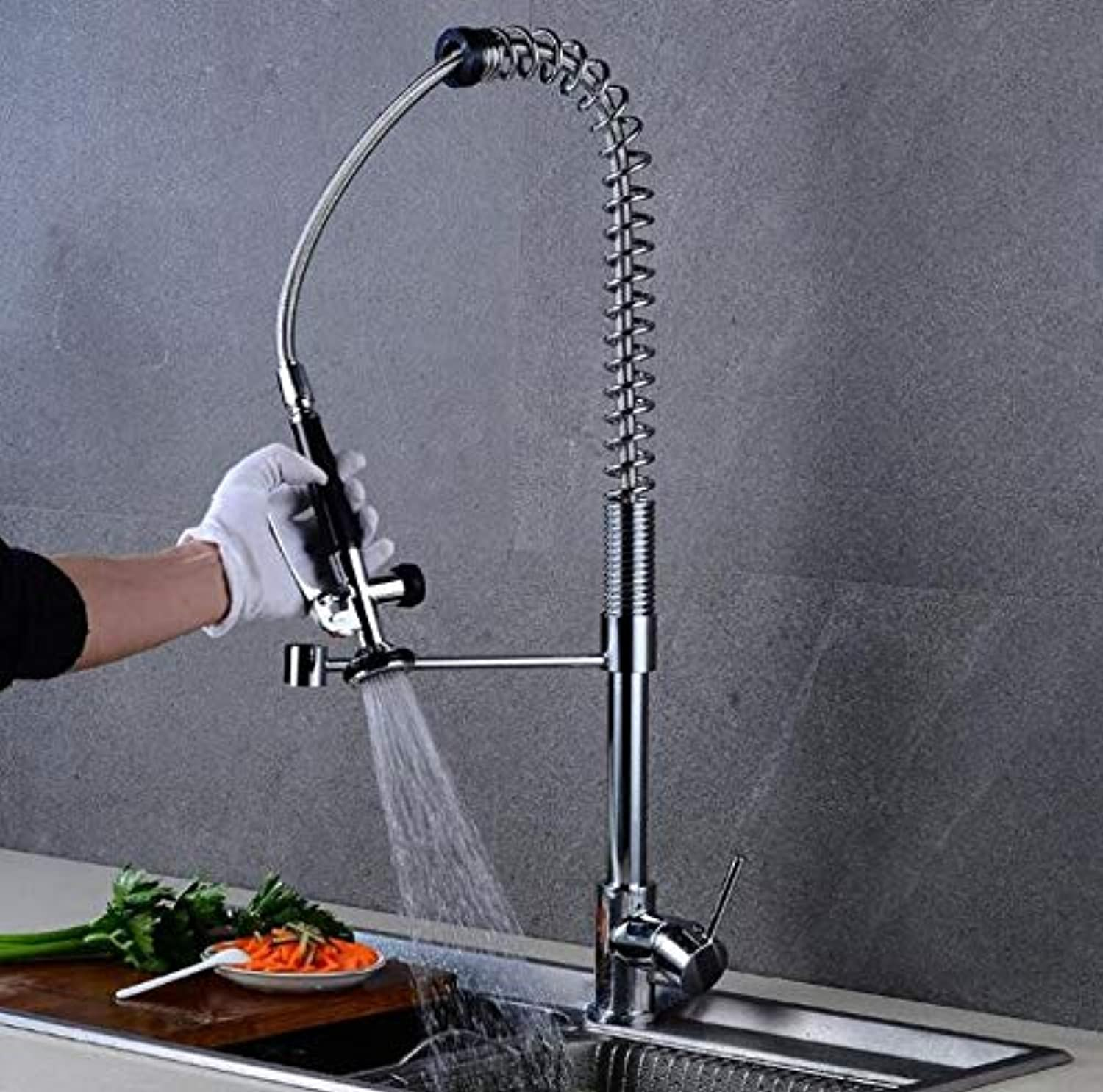 Decorry New Style Nickle Chrome color Kitchen Pull Faucet Mixer Dual Water Swivel Spout redatable Hot Cold Faucet Sink Mixer Taps Xt-113