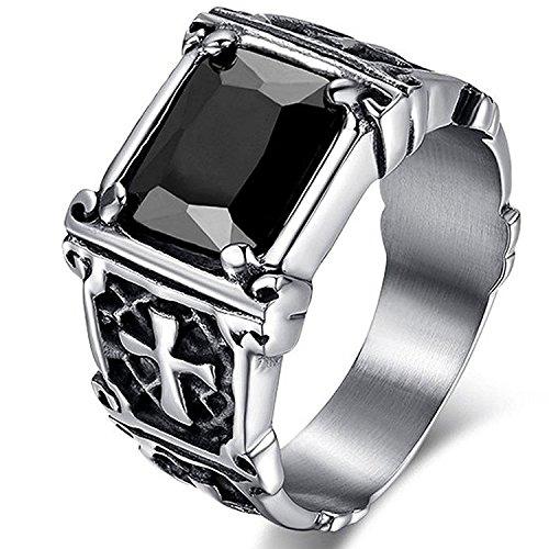 MENDINO, anello in acciaio inossidabile con zircone di cristallo rosso rubino, intarsio vintage con croce celtica, per uomo o donna, con sacchetto di