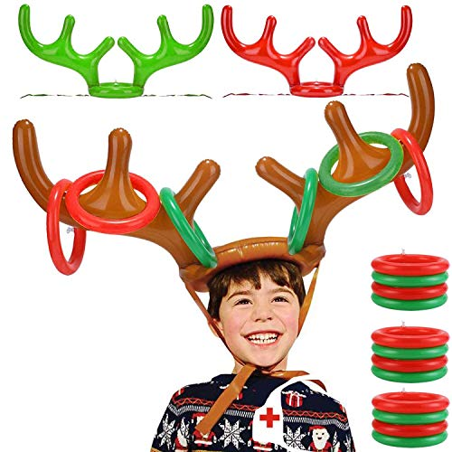 TURNMEON 3 Pack Inflatable Reindeer Antler Ring Toss Game for Christmas Holiday Thanksgiving Xmas Party Game Headband Inflatable Toys for Holiday Family School Photo Props Game(3 Antlers, 12 Rings)