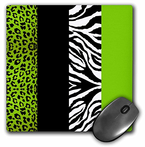 3dRose LLC 8 x 8 x 0.25 Inches Mouse Pad, Lime/Green/Black/White Animal Print Leopard and Zebra (mp_35440_1)