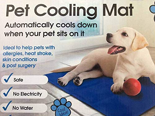 Mega_Jumble Self Cooling Gel Pet Dog Cat Cool Mat Pad Bed Mattress Heat Relief Non-Toxic 60 x 90cm Blue