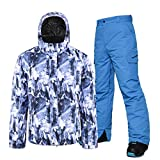 Herren Skijacke mit Hose Skianzug 2 Stück Set Snowboard Skihose Jacke Wasserdicht Atmungsaktiv Winddicht Skijacke Ski Outfit Snowboard Schneeanzug Jumpsuit Sets Take Off Easy Gr. L, blau
