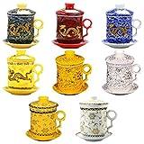 Unknows - Juego de tazas de té con filtro y tapa y platillo, diseño chino