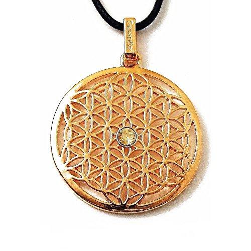 Gepardini Blume des Lebens Halskette mit Swarovski® Edition Kristalle - Handarbeit, hochglanzpoliert (Vergoldet)