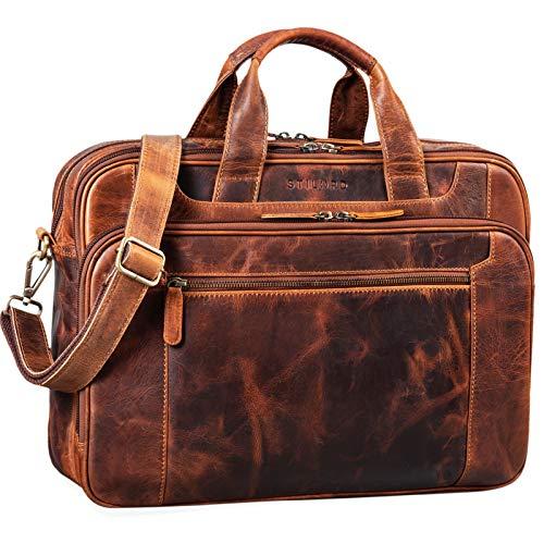 STILORD 'Nelson' Business Bag Leather Men Laptop Bag 15.6 inches Portfolio Shoulder Bag Satchel Genuine Cowhide, Colour:Kara - Cognac