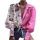 WANGTIANXUE Camiseta de manga larga para mujer, sexy, para otoño, cuello en V, manga murciélago, blusa Y2K Camisetas con botones, Rosa., M