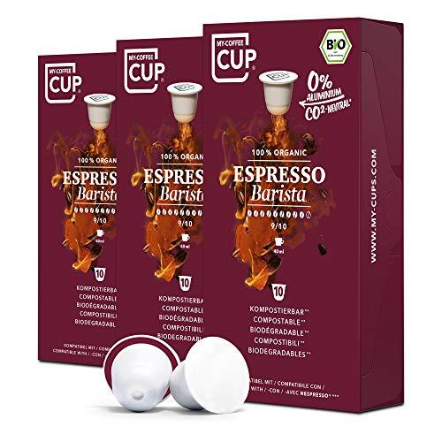 My-CoffeeCup – ESPRESSO BARISTA – BIO-KAFFEE 3 PACKUNGEN I 30 Kaffeekapseln für Nespresso®*-Kapselmaschinen I 100% industriell kompostierbare Kaffeekapseln – 0% Alu I Nachhaltige Kaffeekapseln