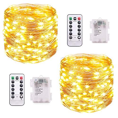 LED Lichterkette Batterie, [2 Stück] VOKSUN 14M 140LED Lichterkette, 8 Modi Kupferdraht Licht Wasserdicht mit Fernbedienung Timer, für Weihnachten Party Hochzeit DIY, Innen/Außen Dekoration (Warmweiß)