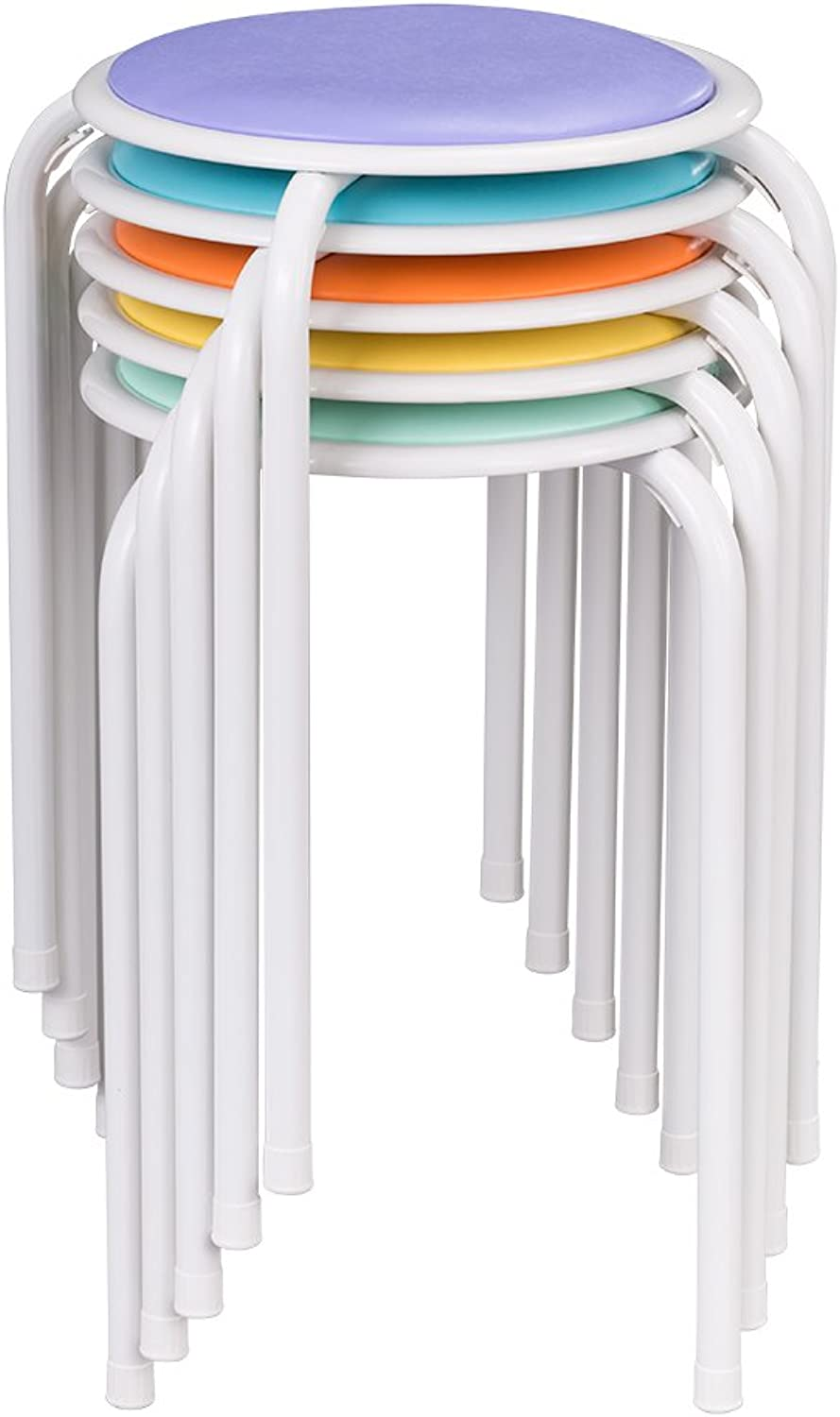 Fat Catalog Assorted color Metal Stack Stool with Padded Seat, ALT-1100-SO (Pack of 5)