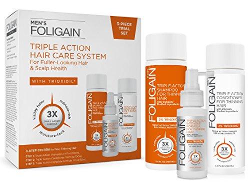 FOLIGAIN - Sistema per la perdita dei capelli a tripla azione per uomini con il 10% di trioxidil - Shampoo, balsamo e lozione
