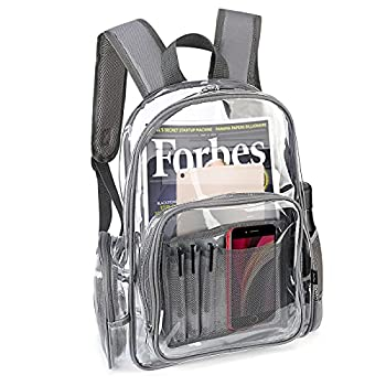 ProCase Heavy Duty Clear Backpack See Through Backpacks Transparent Clear Large Bookbag for School Work Stadium Security Travel Sporting Events -Cleargrey