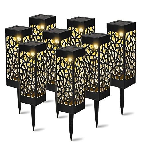 YAOBLUESEA 8 Stück Solarleuchte Garten Outdoor LED Solarlampe Gartenleuchte Solarlampen für draußen,Wasserdicht IP55,600mAh Batterie,Decorative Solarlampe,Terrasse,und Garten Hofwege Warmweiße