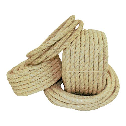 Twisted Sisal Rope (1/4 inch) - SGT KNOTS - All Natural Fibers - Moisture/Weather Resistant - Marine, Decor, Projects, Cat Scratching Post, Tie-Downs, Wicker Chair, Indoor/Outdoor (50 feet)