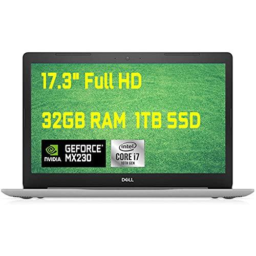 Premium Dell Inspiron 17 3793 3000 Laptop Computer, 17.3 inch FHD Anti-Glare, 10th Gen Intel Quad-Core i7-1065G7, 32GB DDR4 1TB SSD, 2GB MX230 MaxxAudio WiFi DVD HDMI Win 10 + HDMI Cable