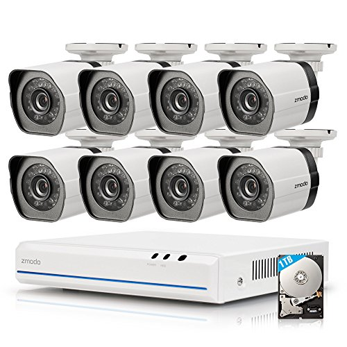 ZMODO ZM-SS78D9D8-S-1TB 8CH 720p HD G2 sPoE Überwachungskamera System mit 8 Indoor/Outdoor IP-Kamera und 1TB HDD