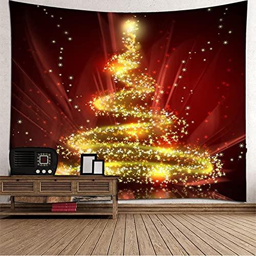 KnBoB Tapiz Pared Decorativo Árbol de Navidad con Luces 150 x 130 CM Tejido Poliester Anti Arruga Decoracion Habitacion