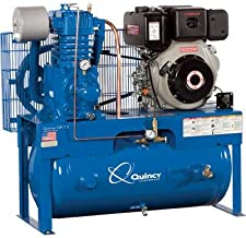 product image for Quincy QP-10 Pressure Lubricated Reciprocating Air Compressor - 10 HP Yanmar Diesel Engine, 30 Gallon Horizontal, Model Number D307Y30HCD
