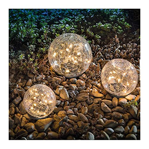Garden Solar Lights,3 Packs glass cracked light Warm White LED for Outdoor Decor Decorations Pathway Patio Yard Lawn,6 pack